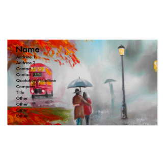 Rainy day autumn red bus umbrella painting business card template