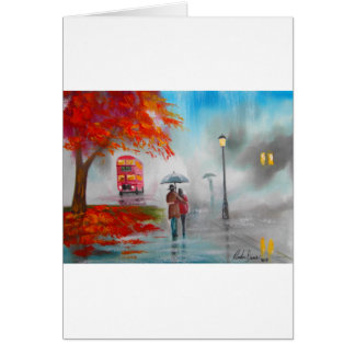 Rainy day autumn red bus umbrella painting greeting card