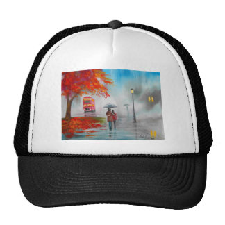 Rainy day autumn red bus umbrella painting hat