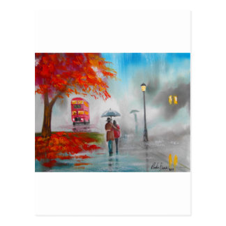 Rainy day autumn red bus umbrella painting postcard