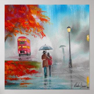Rainy day autumn red bus umbrella painting poster