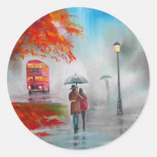 Rainy day autumn red bus umbrella painting round sticker