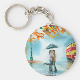 Rainy day autumn red tram umbrella romantic couple basic round button key ring