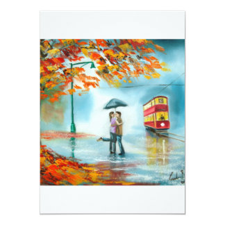 "Rainy day autumn red tram umbrella romantic couple 5"" x 7"" invitation card"