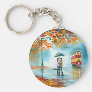 Rainy day autumn red tram umbrella romantic couple key chains