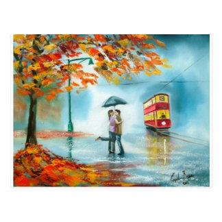 Rainy day autumn red tram umbrella romantic couple postcard