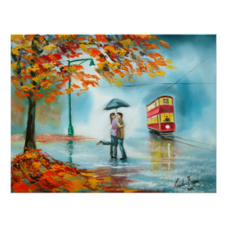 Rainy day autumn red tram umbrella romantic couple poster