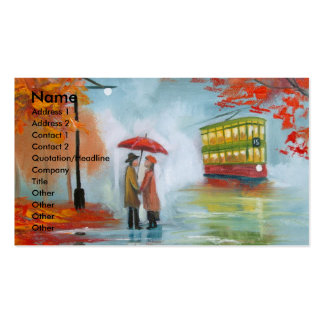 Rainy day autumn red umbrella tram painting business card template