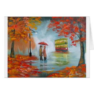 Rainy day autumn red umbrella tram painting greeting card