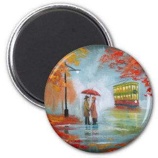 Rainy day autumn red umbrella tram painting 6 cm round magnet