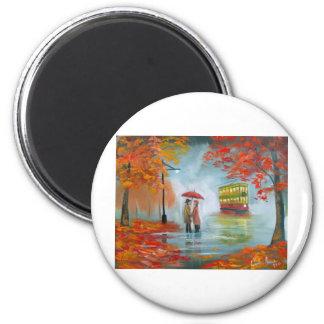 Rainy day autumn red umbrella tram painting fridge magnets