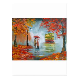 Rainy day autumn red umbrella tram painting postcard