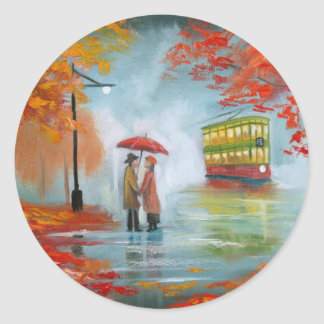 Rainy day autumn red umbrella tram painting round sticker