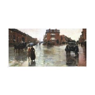 Rainy Day, Boston 1885 Canvas Print