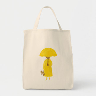 Rainy Day Girl with Teddy Bear Tote Bag
