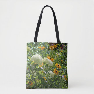 Rainy Day Hydrangea Gloriosa Daisies, geometric s2 Tote Bag