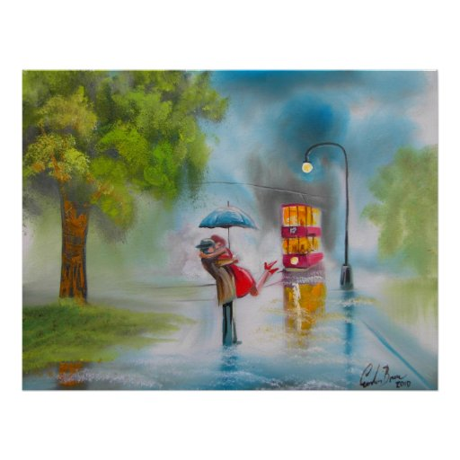RAINY DAY KISSING COUPLE TRAM UMBRELLA POSTERS