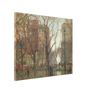 Rainy Day, Madison Square, New York, Paul Cornoyer Gallery Wrapped Canvas