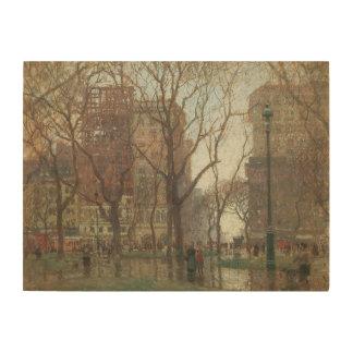 Rainy Day, Madison Square, New York, Paul Cornoyer Wood Canvases