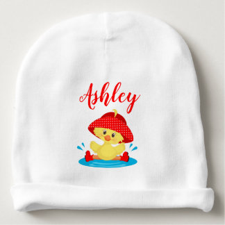 Rainy Day Puddle Duck Red Rain Hat Boots Baby Baby Beanie