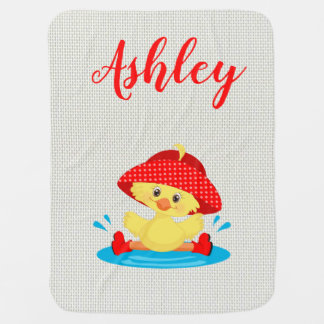 Rainy Day Puddle Duck Red Rain Hat Boots Baby Baby Blanket