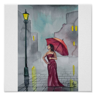 RAINY DAY RED UMBRELLA POSTER