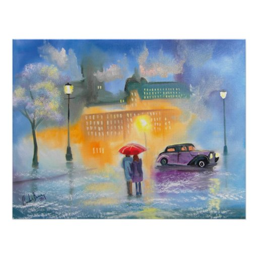 Rainy day red umbrella romantic couple walk print