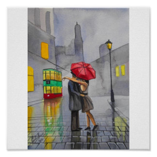 RAINY DAY RED UMBRELLA tram street scene PAINTING Poster