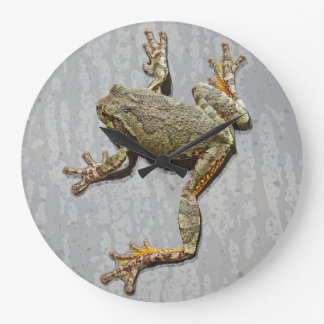 Rainy Day Tree Frog On Glass Large Clock