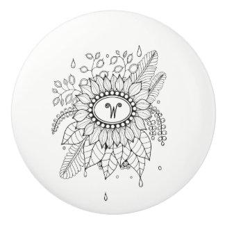 Rainy Floral Spray Ceramic Knob