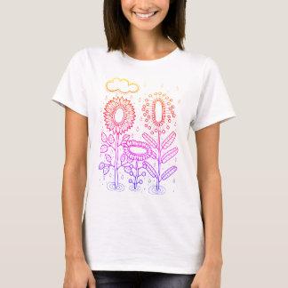Rainy Flower Garden Line Art Design T-Shirt
