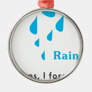 Rainy Illustration Silver-Colored Round Decoration