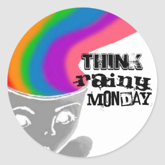 Rainy Monday Think Happy Thoughts Sticker