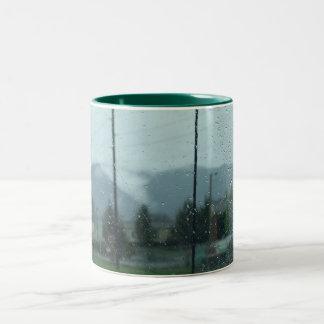 Rainy Mountain Day Two-Tone Coffee Mug