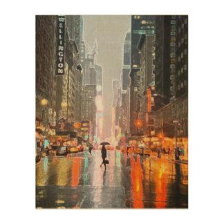 Rainy New York City Wood Wall Decor