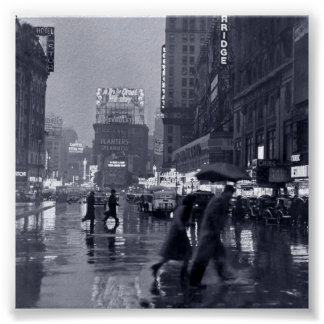 Rainy New York Night (vintage) Poster