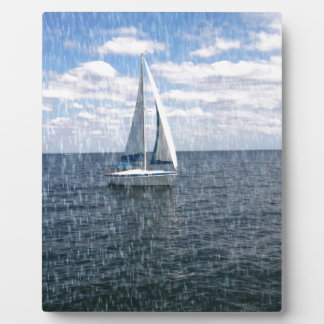 Rainy Sail Boat Plaque