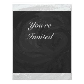 Rainy Sky Gray and Black Monogram 11 Cm X 14 Cm Invitation Card