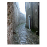 Rainy Street in Erice Sicily Postcard