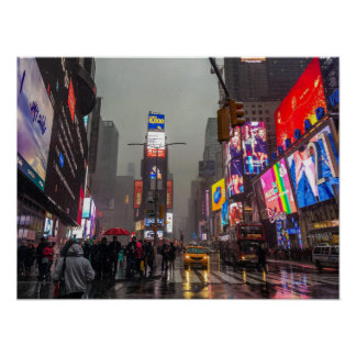 Rainy Times Square Poster