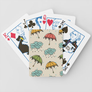 Rainy Water drops and Umbrellas Poker Deck