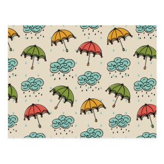 Rainy Water drops and Umbrellas Postcard