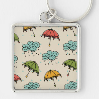 Rainy Water drops and Umbrellas Silver-Colored Square Key Ring