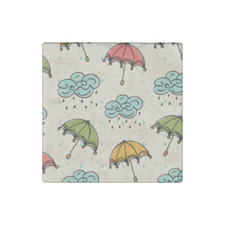 Rainy Water drops and Umbrellas Stone Magnet