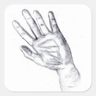 Raise your hand square sticker