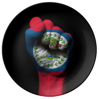 Raised Clenched Fist with Belize Flag Porcelain Plates