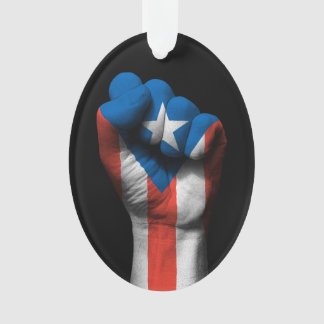 Raised Clenched Fist with Puerto Rican Flag Ornament