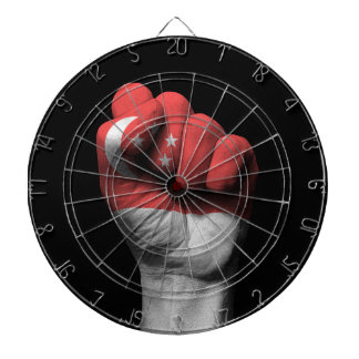 Raised Clenched Fist with Singapore Flag Dartboard With Darts