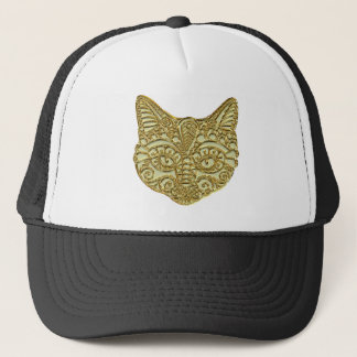 Raised Gold Golden Egyptian Cat Kitty Metal Hat