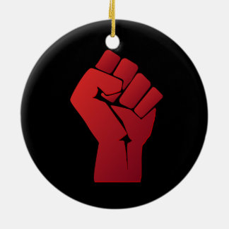 Raised Red Gradient Fist Ceramic Ornament